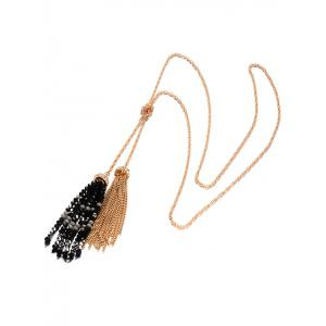 Beaded Fringe Pendant Necklace Set -