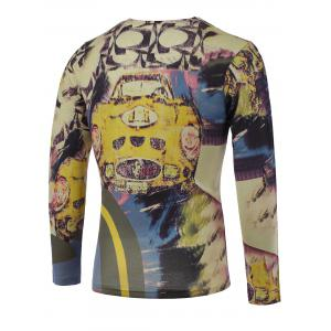 3D Color Block Car Print V-Neck Long Sleeve Sweater - COLORMIX 3XL
