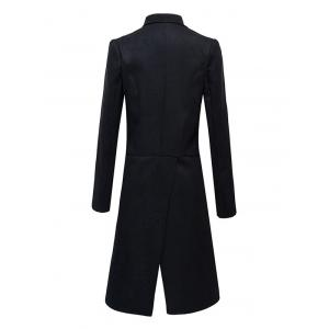 Flap Pocket Button Embellished Split Overcoat - BLACK 2XL