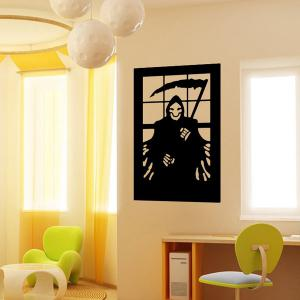 Ghost Wizard Design Removable Room Halloween Vinyl Wall Sticker - BLACK