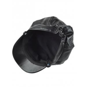 Casual Letter Shape Metal Button PU Newsboy Hat -