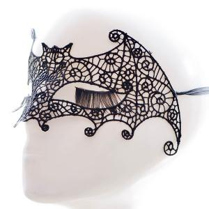 Faux Lace Bat Hallowmas Party Mask - BLACK