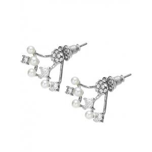 Rhinestone Ball Faux Pearl Earrings -