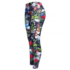 Christmas Printed Stretchy Slimming Leggings - COLORMIX XL