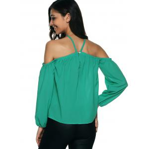 Cold Shoulder Long Sleeve Chiffon Top -