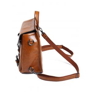 PU Leather Double Strap Buckles Backpack -