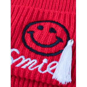 Casual Small Tassel Smile Face Embroidery Knit Hat -