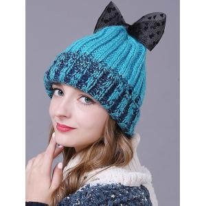 Warm Lace Bowknot Flanging Knitted Faux Wool Hat - LAKE BLUE