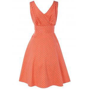 Bowknot Polka Dot Fit and Flare Dress -