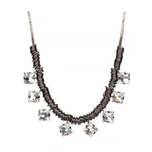 Square Rhinestone Circle Pendant Necklace -
