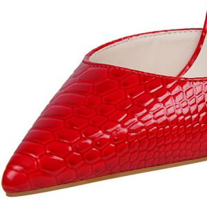 Patent Leather Embossing Stiletto Heel Pumps - RED 39
