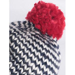 Warm Big Ball Wavy Stripe Knitted Beanie -