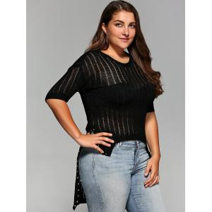 Plus Size Asymmetrical Rivet Knitwear -