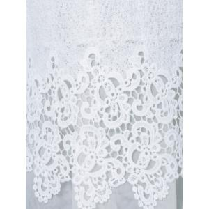 Mesh Patchwork Layered Lace Tunic Blouse - WHITE S