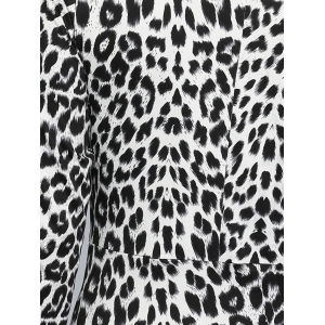 V Neck Leopard Knee Length Tight Dress -