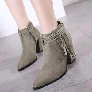 Tassels Stitching Side Zip Boots - GRAY 38