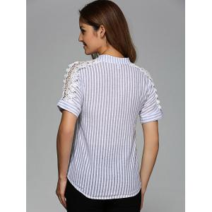 Openwork Striped High-Low Blouse - LIGHT GRAY 3XL