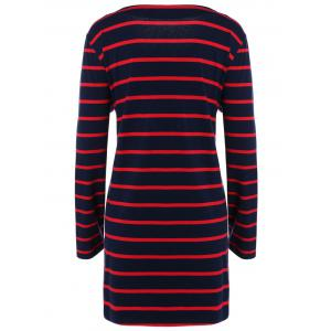 Scoop Neck Striped Loose-Fitting Dress -