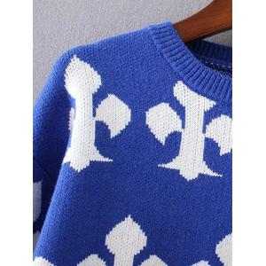 Knitted Patterned Jacquard Spliced Sweater -