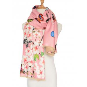3D Butterfly and Peach Flower Print Shawl Scarf -