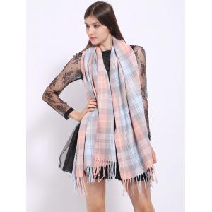 Autumn Small Plaid Pattern Tassel Shawl Wrap Scarf -