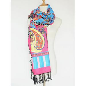 Ethnic Paisley and Leopard Pattern Tassel Shawl Scarf -
