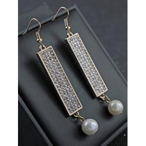 Rhinestone Faux Pearl Geometric Drop Earrings -