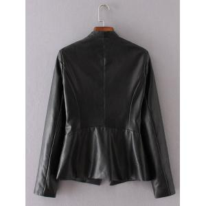 One Button PU Leather Biker Jacket -