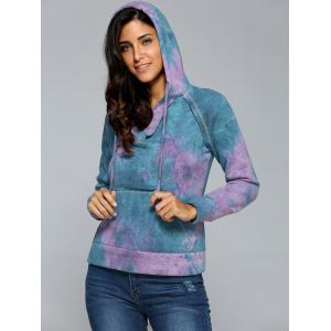 Ombre Topstitched Pocket Design Hoodie - PURPLE XL