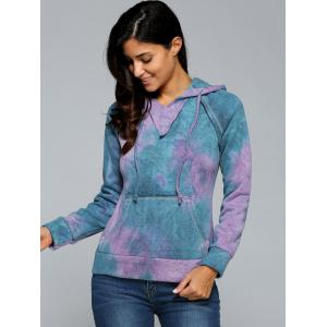 Ombre Topstitched Pocket Design Hoodie - PURPLE L