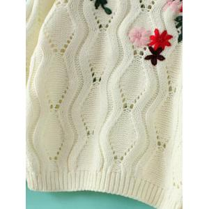 Openwork Knitted Flowers Embroidered Sweater -
