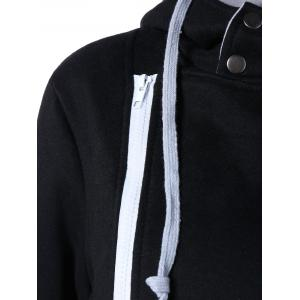 Asymmetrical Zip Hooded Casual Jacket - BLACK 2XL