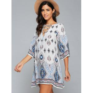 3/4 Sleeve Lace-Up Printed Dress - WHITE XL