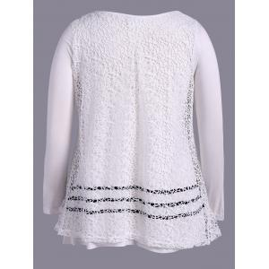 Plus Size Long Sleeve Lace T-Shirt - OFF WHITE 4XL