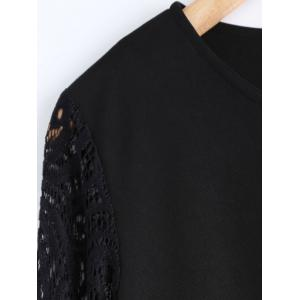 Plus Size Lace Patched Dress - BLACK 2XL