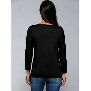 Flocking Letter Print Sweatshirt - BLACK XL