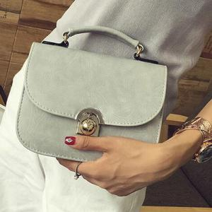 PU Leather Covered Closure Metal Crossbody Bag - LIGHT GRAY