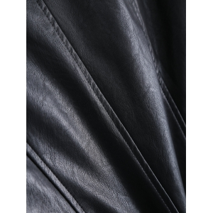 Plus Size Hooded Faux Leather Jacket -