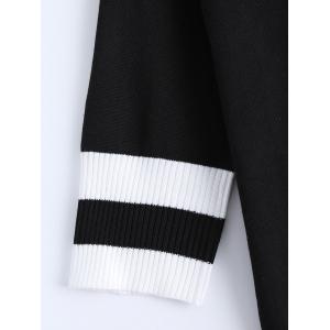 Color Block Two Piece Knitted Tight Dress - BLACK 5XL