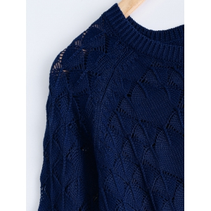 Textured Side Slit Asymmetric Sweater - DEEP BLUE 5XL