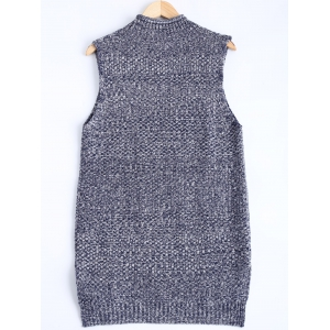 Knitted Textured Heathered Asymmetric Vest -