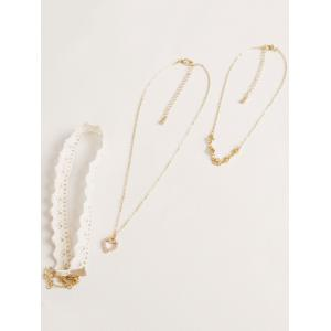 Faux Lace Rhinestone Heart Choker Set - WHITE