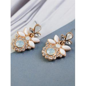 Alloy Faux Gem Leaf Drop Earrings -