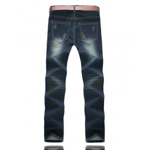 Zipper Fly Five-Pocket Scratched Jeans -