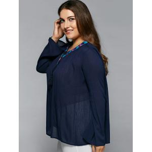 Tie Front Peasant Blouse - PURPLISH BLUE 4XL