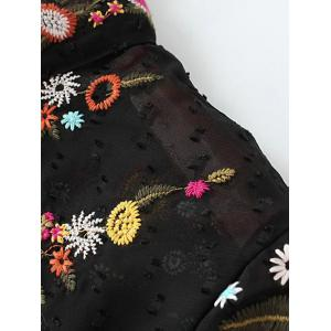 Ruffled Flowers Mexican Embroidered Spliced Blouse - BLACK M