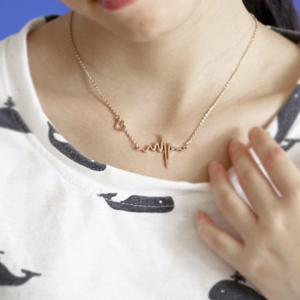 Name Heartbeat Pendant Necklace110 - CHAMPAGNE GOLD