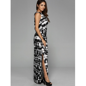 Back Hollow Out Split Maxi Dress - COLORMIX XL