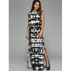 Back Cut Out Maxi Side Slit Dress - COLORMIX XL