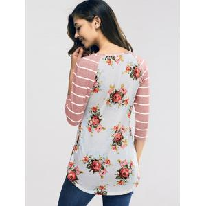 Raglan Sleeve Casual Floral and Striped T-Shirt - NUDE PINK S